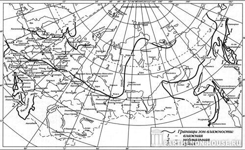 Зоны влажности на территории России и стран СНГ