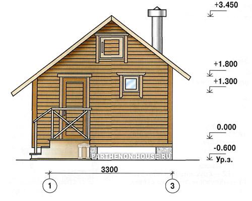 Фасады бани по каркасному методу