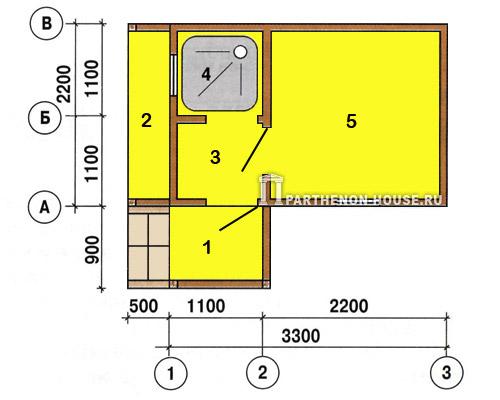Рис 3 план бани 1 крыльцо 2 дровник