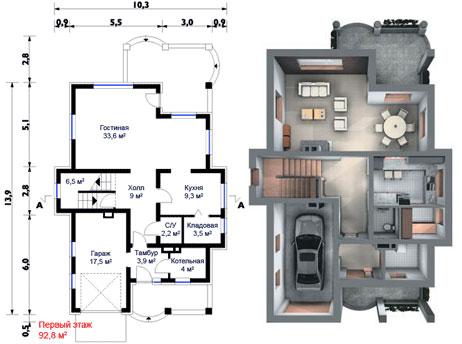 Схема дома с лестницей