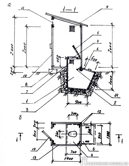 Рис.2. Дачный деревянный туалет с выгребом: а - разрез 1-1; б - план дачного туалета с выгребом...
