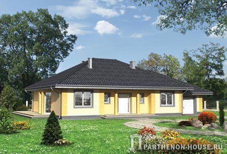 Проект одноэтажного дома. Три спальных комнаты, две ванные, большая котельная и гараж - комфортабельный проект одноэтажного дома из пеноблоков или