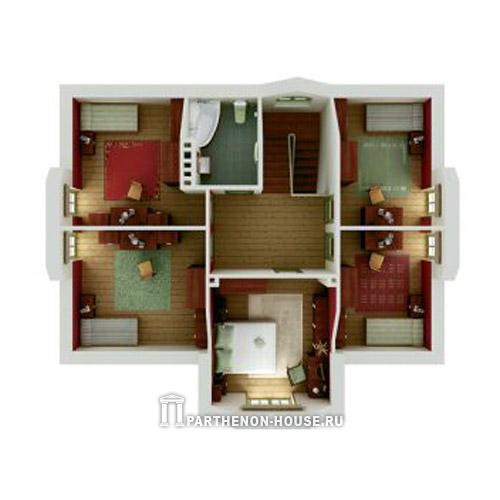 Интерьер одноэтажного дома с тремя спальнями фото