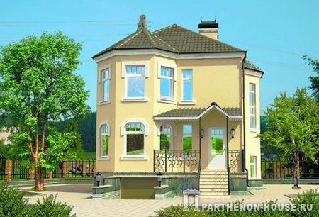 Проект двухэтажного дома с верандой