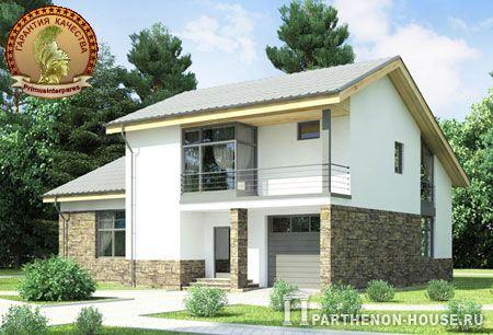 Проект двухэтажного дома с гаражом и стенами из газобетона ЯП 209-7