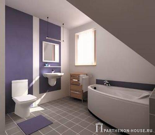 Дизайн туалета в мансарде