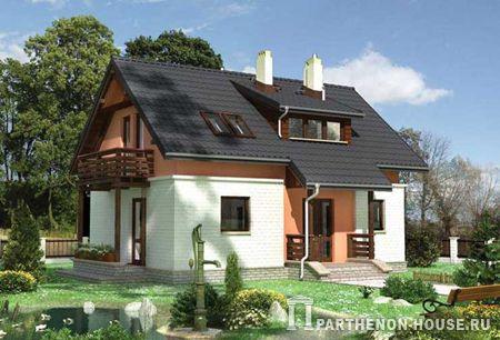 проект кирпичного дома с мансардным этажом