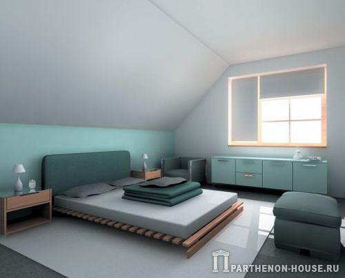 Интерьеры мансарды спальни …