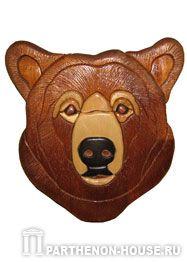 Медведь - интарсия, изделия из дерева.