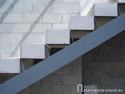 Строительство дома из газобетона, газобетонных блоков. Лестницы из газобетона