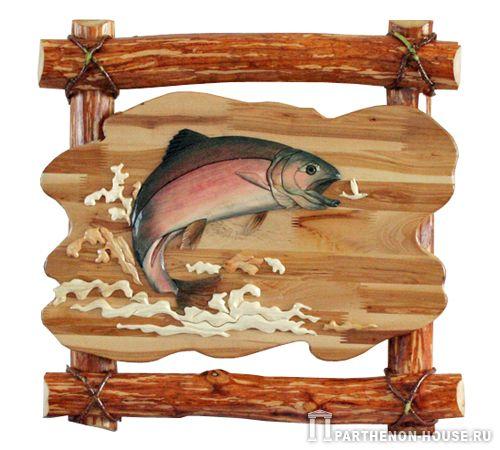 Изображение рыб - декоративная мозаика - интарсия - вклеивание в прочную...