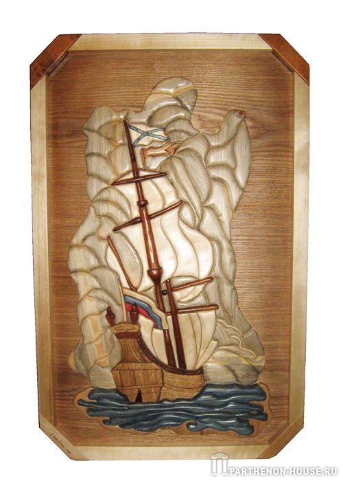 "Картина из дерева  ""Корабль "" (интарсия - мозаика по дереву)"