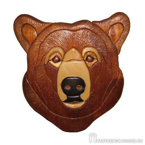 Медведь – интарсия изделия из дерева